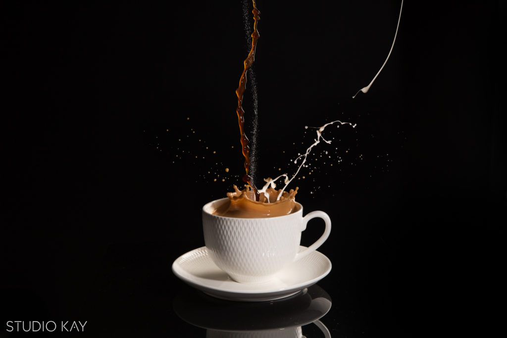 Coffee photography in motion and splashing by studio kay